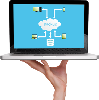 Hand holding laptop with backup image on screen.